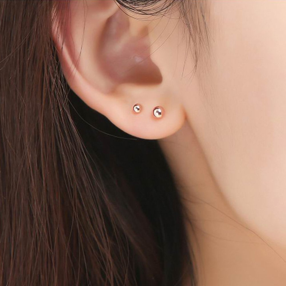Paialco Solid 18K Rose Gold Tiny Ball Piercing Earring Studs 4MM by Paialco (Image #2)
