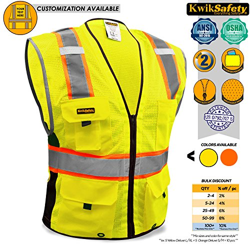 KwikSafety BIG KAHUNA | Class 2 Deluxe Safety Vest | 360° High Visibility Reflectivity ANSI Compliant Work Wear | Hi Vis 8 Pocket Breathable Mesh Men & Women Regular to Over Sized Fit | Yellow L/XL