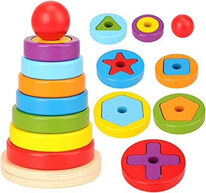 Classic Wooden Rainbow Stacker Rings Stacking Educational Kids Toddlers Toy