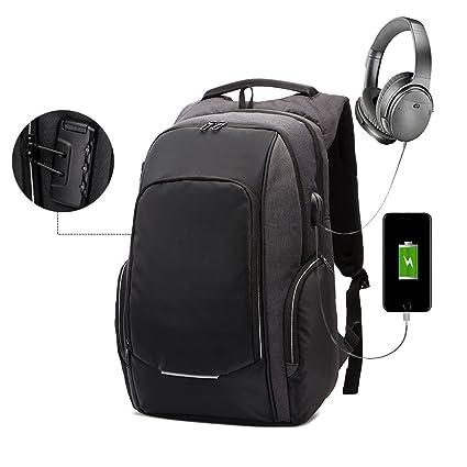 Kobwa - Mochila antirrobo para ordenador portátil con puerto USB de carga y auriculares, 15