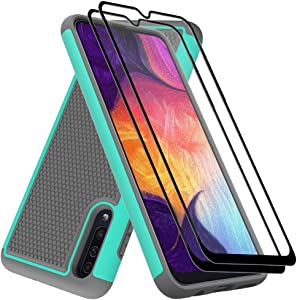 Galaxy A50 Case with Tempered Glass Screen Protector, Dahkoiz Drop Protection Galaxy A50 Phone Case Dual Layer Armor Defender Cover Heavy Duty Protective Case for Samsung Galaxy A50/A50s/A30s, Mint