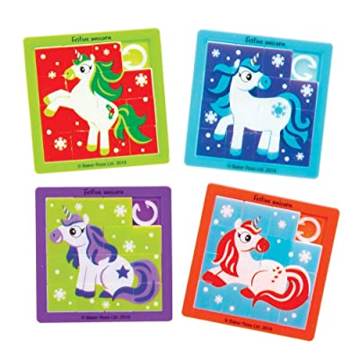 Baker Ross Festive Unicorn Sliding Puzzles, Christmas Arts and Crafts (Pack of 8): Toys & Games