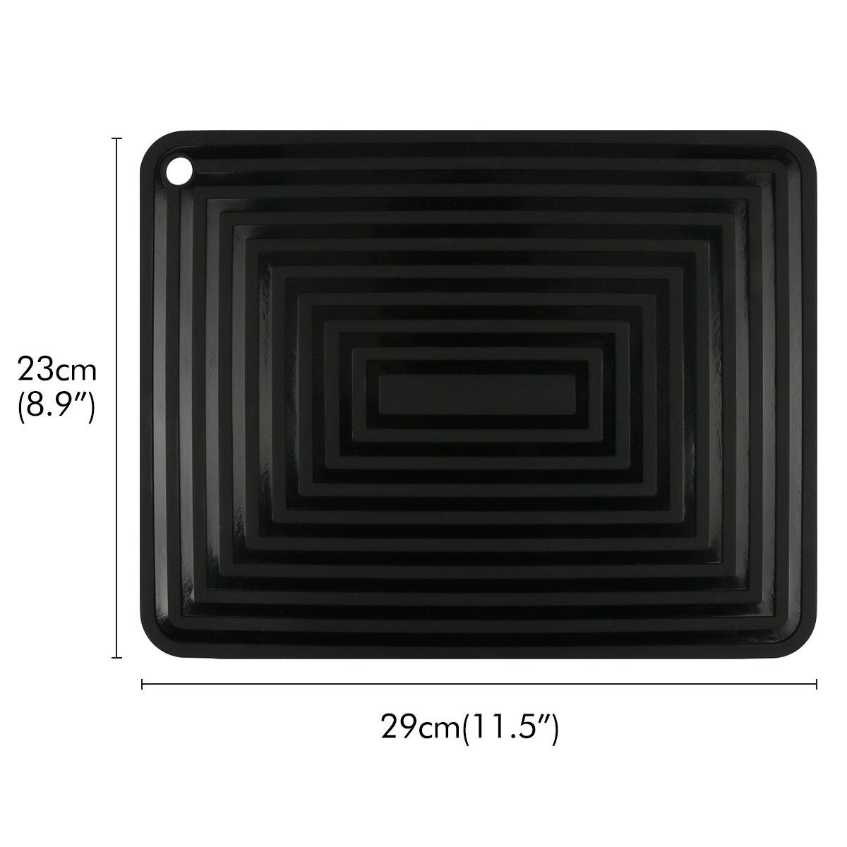 2 Pack,Silicone Trivet Mats/Hot Pads,Pot Holder,9''x12'' Non Slip Flexible Durable Heat Resistant Pot Coaster Kitchen Table Mats (Black) by LogHog (Image #3)