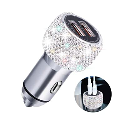 Quick Charge 3.0 Car Charger, SAVORI Bling Bling Handmade Crystal Rhinestones Dual USB Car Charger Adapter for iPhone, iPad Pro/Air 2/Mini, Samsung Galaxy Note9/8/S9/S9+, LG, Nexus, HTC, etc (White): Home Audio & Theater