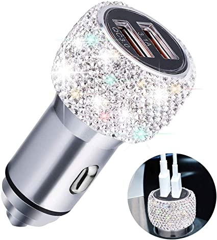 Fast Charging Car Decors for iPhone XS X 8 7 6s 6 Plus HTC bling car accessories LG Samsung Galaxy Note9//8//S9//S9+ Bling Dual USB Car Charger Handmade Rhinestones Crystal Car Decorations