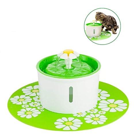 Fuente de Agua Silenciosa para Mascotas,HomeYoo 1.6 L Dispensador Circular en Forma de Margarita
