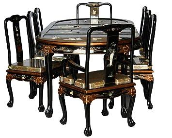 Chinese Arts, Inc Schwarz Lack Holz Esszimmer Set Mit Acht Stühle Modell  8309 Bk