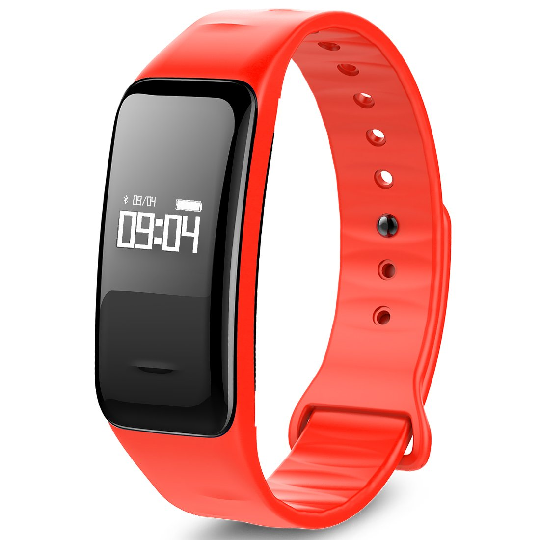 MBHB Health Fitness Tracker, Oxygen Blood Pressure/Heart Rate monitor, Waterproof Pedometer Smart Watch for Android and iOS, Red