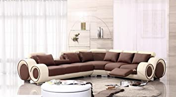 4087 Beige U0026 Brown Leather Sectional Sofa With Built In Footrests