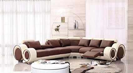 Amazon.com: 4087 Beige & Brown Leather Sectional Sofa With ...