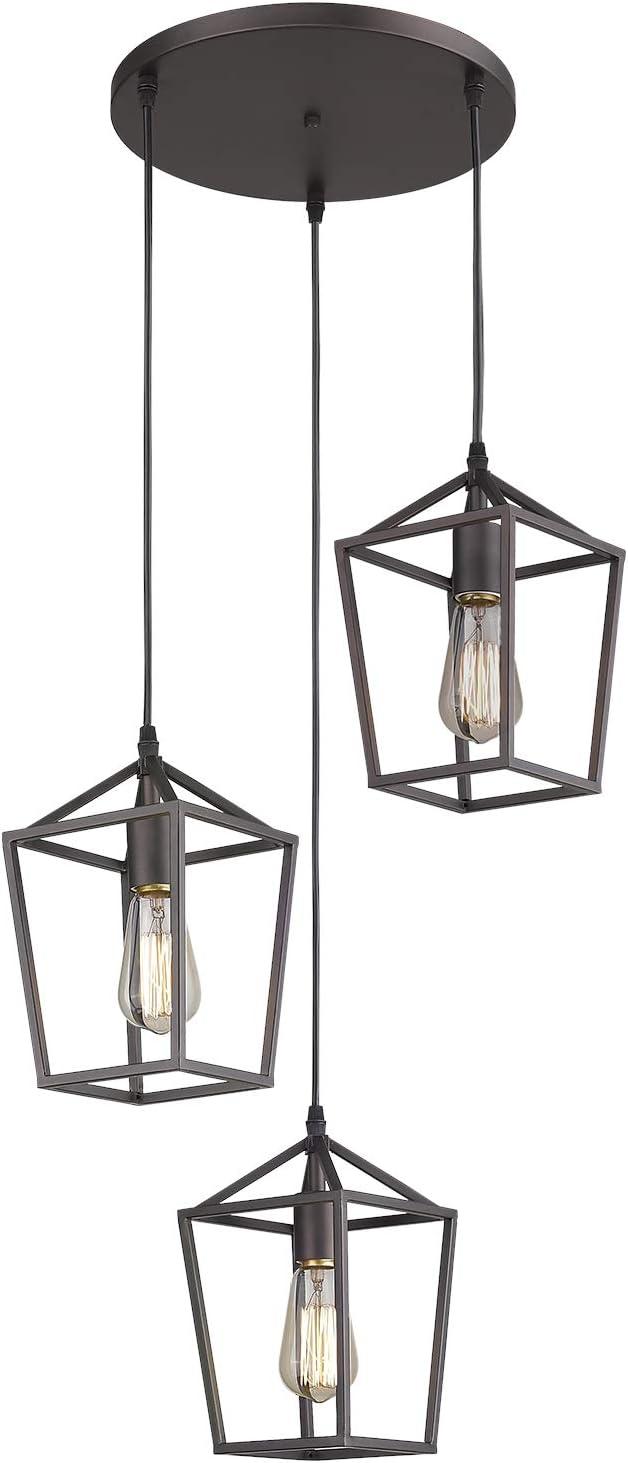 Amazon Com Emliviar 3 Light Pendant Lighting Cluster Pendant Hanging Light For Kitchen Dining Room Oil Rubbed Bronze Finish 20065d 3 Orb Home Improvement