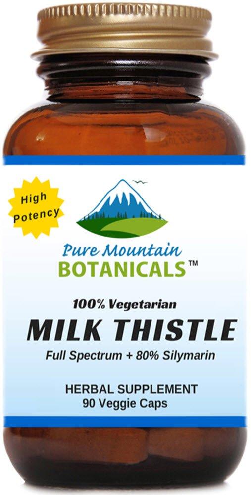 High Potency Milk Thistle. 90 Kosher Veggie Capsules. 450mg Organic Milk Thistle Seed and Extract