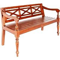 vidaXL Solid Mahogany Wood Batavia Bench Indoor 3 Person Armchair Backyard Lounge Seating 136cm Home Furniture Dark…