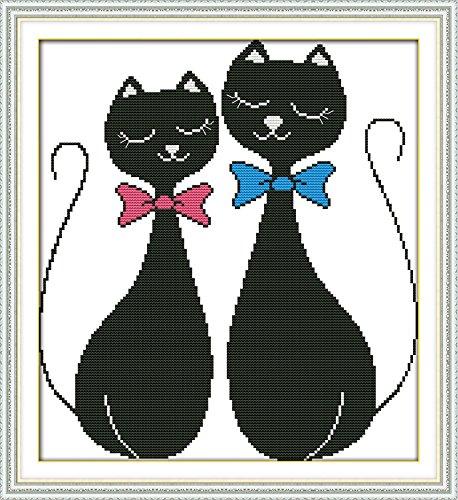 Chreey - Kit de Punto de Cruz | Gato Negro Pareja | 33 x ...