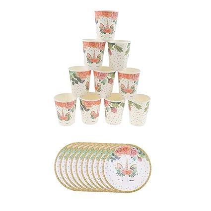 Baoblaze Conjunto de Vasos de Papel Desechables Platos ...