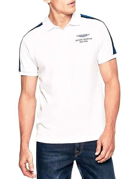 Hackett Hombres Camisa de Polo de Panel de Hombro Slim Fit Blanco ...