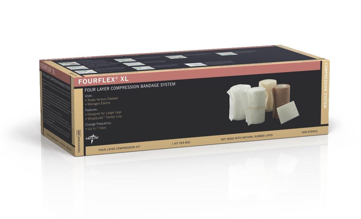 Medline MSC4400XL Fourflex 4-Layer Bandage System, X-Large (Pack of 8)