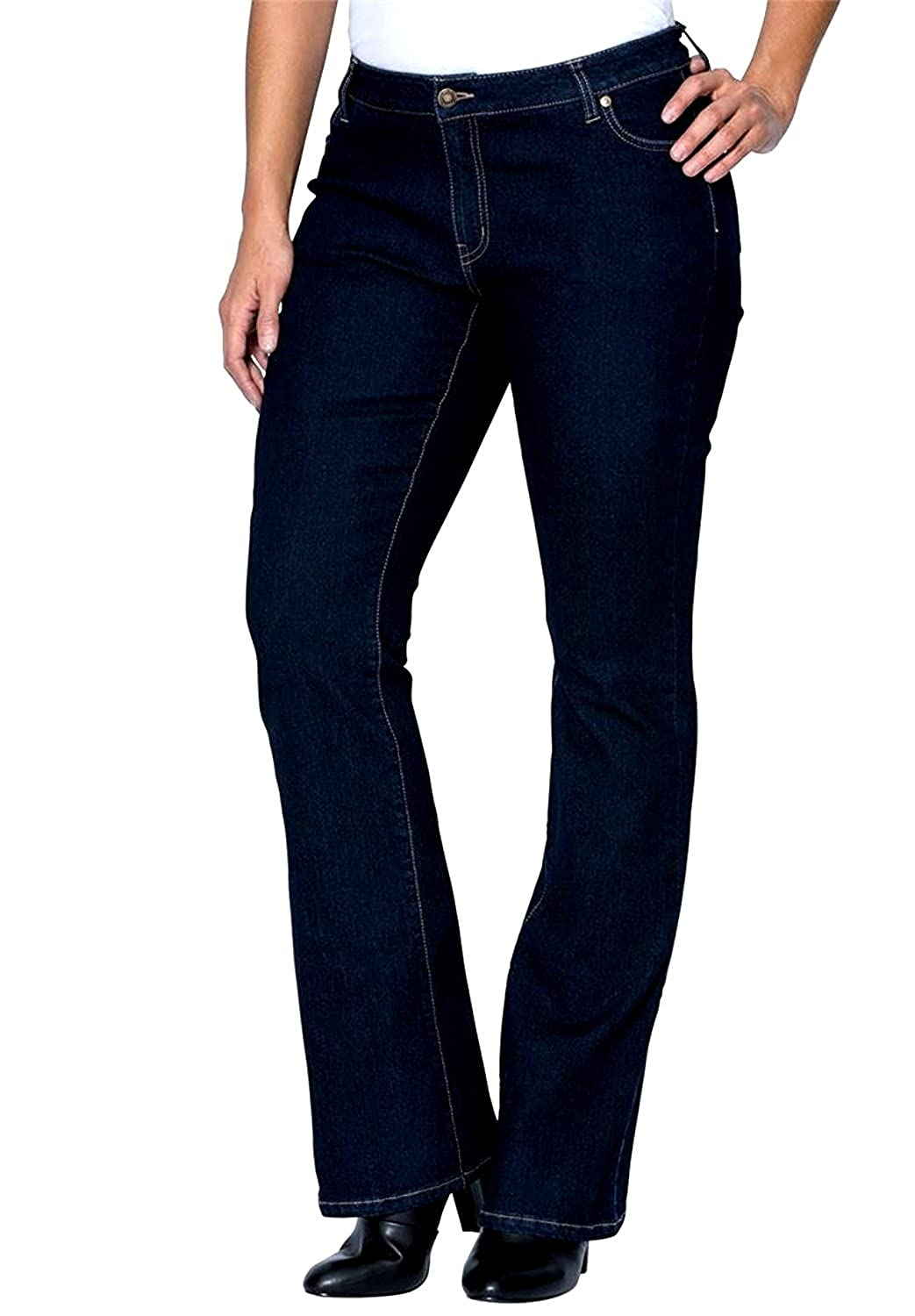 JD&C Womens Plus Size Blue/Black Denim Jeans Tall Long Bootcut Straight Leg Pants