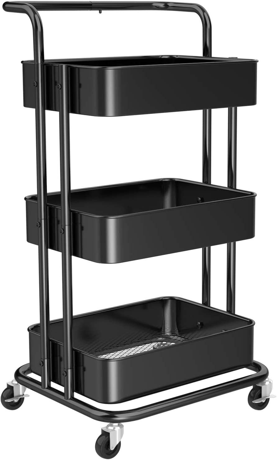 3 Tier Mesh Utility Cart, Rolling Metal Organization Cart with Handle and Lockable Wheels, Multifunctional Storage Shelves for Kitchen Living Room Office by Pipishell, Black