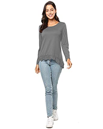 46896e2f63f678 KENANCY Women's Lace A-Line Tunic Tops Long Sleeve Scoop Neck Loose ...