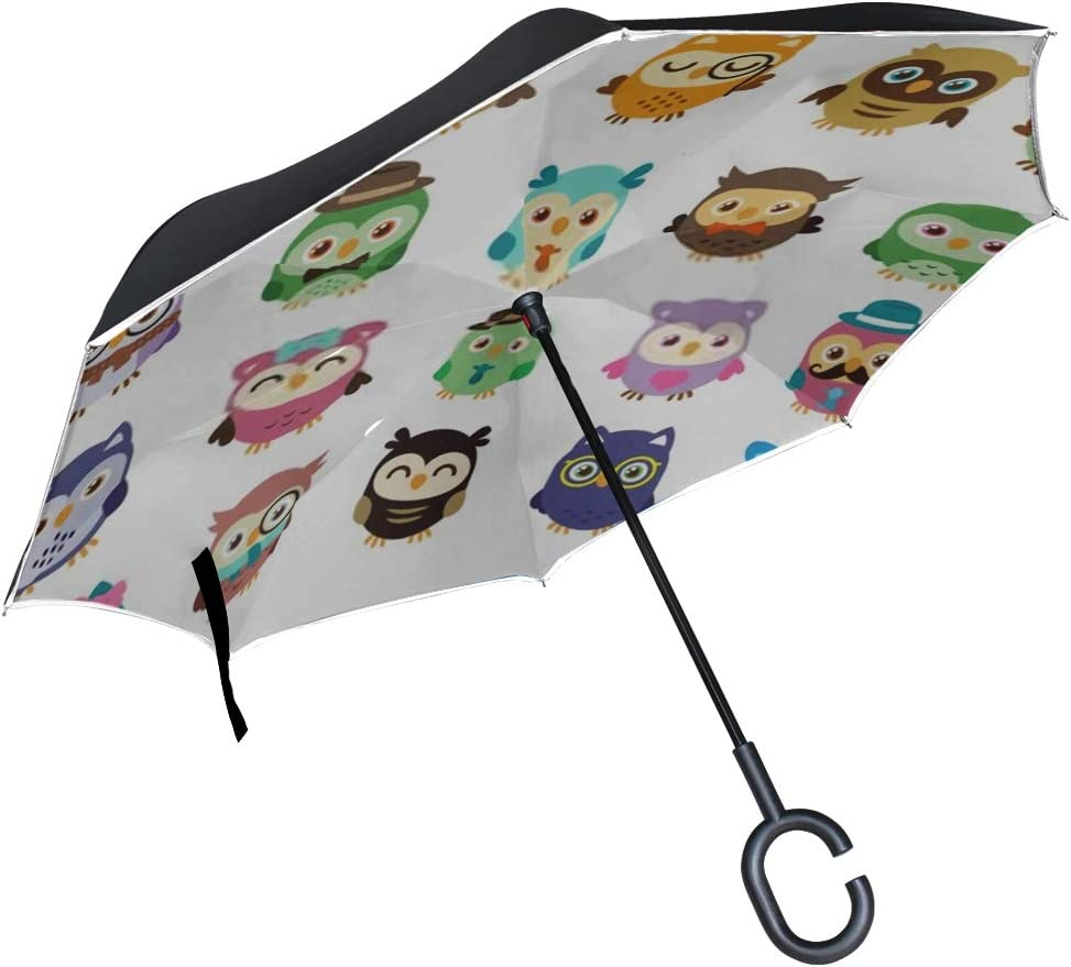 Double Layer Inverted Inverted Umbrella Is Light And Sturdy 20 Cute Sweet Owls Simple Edit Reverse Umbrella And Windproof Umbrella Edge Night Reflect