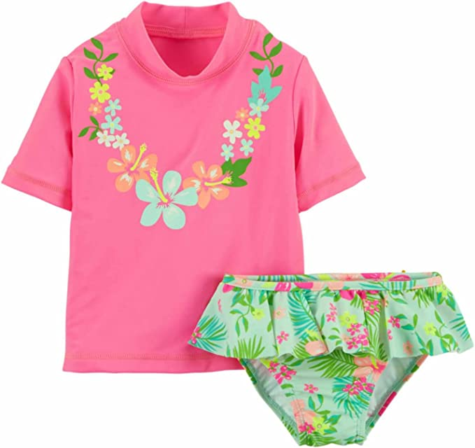 Amazon.com: Carters infantil niñas rosa Rash Guard traje de ...