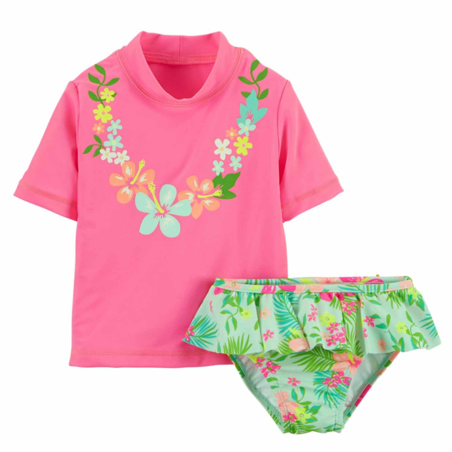 Carter's Infant Girls Pink Swimming Suit Hawaiian Rash Guard Cover up Swim Carters