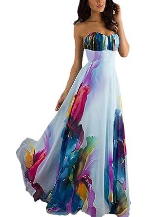 low priced a7034 0992c Vestiti Lunghi Donna Eleganti Da Cerimonia Bandeau Abito Da Sposa Vita Alta  Colourful Abiti Per Da Sera Matrimonio A Pieghe Vestito Impero Nobile ...