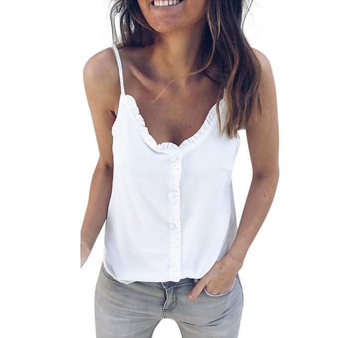aeaad14a2 Camiseta de Tirantes para Mujer,riou Chaleco de Color sólido con Cuello en v  de