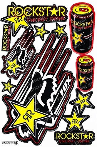 1 Rockstar Energy Drink Metal Mulisha Yamaha Kawasaki Motorcross Race Racing F1 Logo Sponsor Sticker Decal Skateboard Car Bike Bicycle Kid Wall Helmet Decoration Red RS8YW