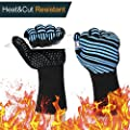 1472? Extreme Heat Resistant BBQ Gloves, Food Grade Kitchen Oven Mitts - Flexible Oven Gloves with L5 Cut Resistant, Silicone Non-slip Cooking Hot Glove for Grilling, Welding, Cutting, Baking (1 Pair)