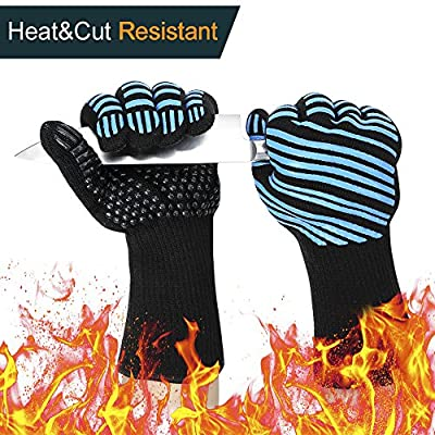 932? Extreme Heat Resistant BBQ Gloves, Food Grade Kitchen Oven Mitts - Flexible Oven Gloves with L5 Cut Resistant, Silicone Non-Slip Cooking Hot Glove
