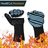 1472℉ Extreme Heat Resistant BBQ Gloves, FDA Food Grade Kitchen Oven Mitts - Flexible Oven Gloves with L5 Cut Resistant, Silicone Non-slip Cooking Gloves for Grilling, Baking, Cutting (1 Pair)