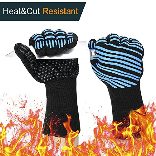 Check Out This 1472℉ Extreme Heat Resistant BBQ Gloves, Food Grade Kitchen Oven Mitts - Flexible O...