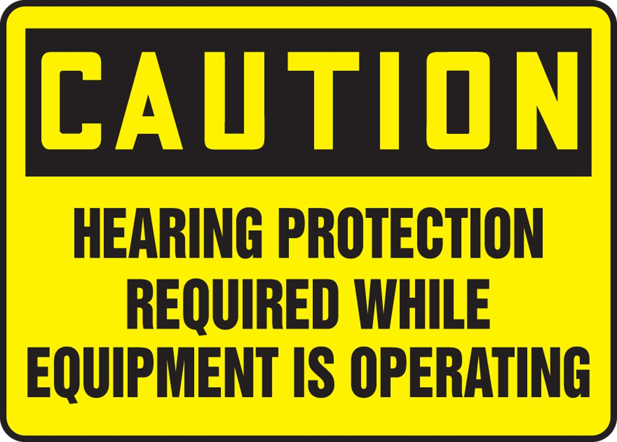 Dura-Fiberglass AccuformCaution Hearing Protection Required/… Safety Sign 7 x 10 Inches MPPE431XF