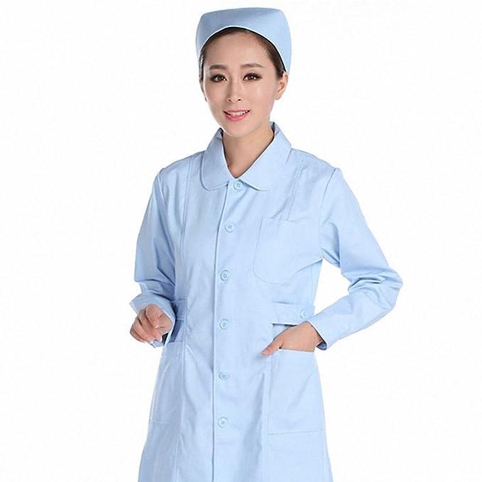 Xuanku Manga Larga Ropa De Enfermera, Muñeca Collar, Bata Blanca, Farmacia, Salón