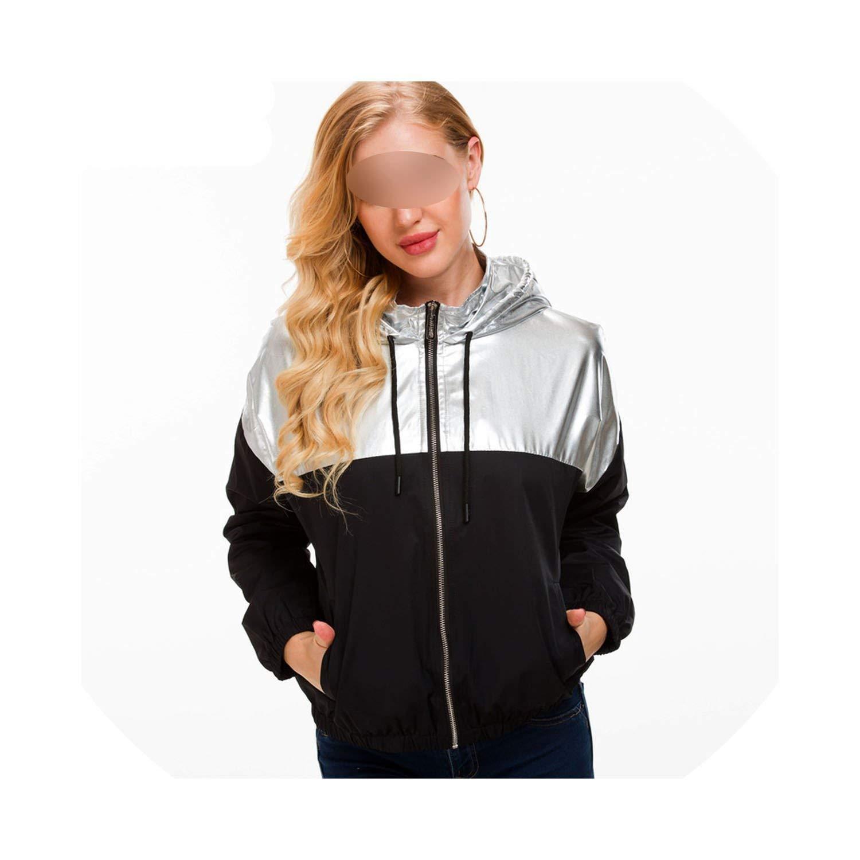 Women Clothing Tops Zipper Coat Patchwork Silver Jackets