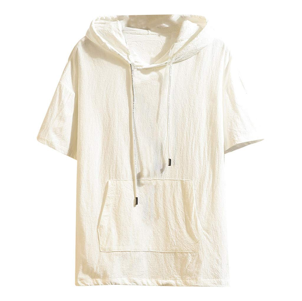 Men's Hooded T-Shirt Short Sleeve Strap Tie Solid Color with Pocket Lightweight Loose Daily Blouse Tops (X-Large, White)