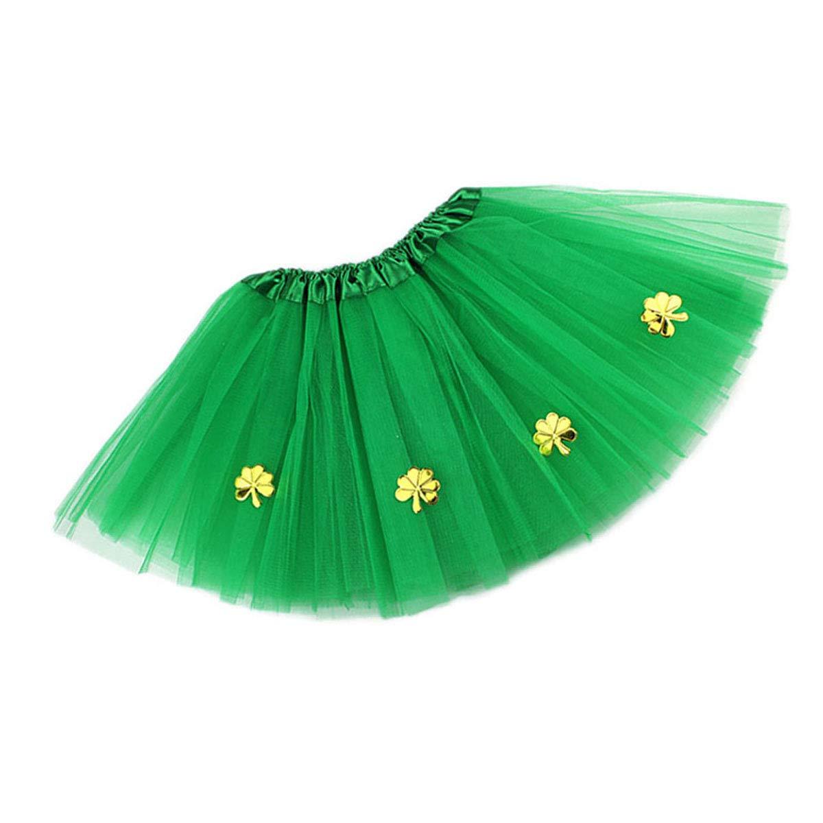 BESTOYARD Gonna Tutu Verde con Motivo Quadrifoglio Trifoglio Irlandese Vestito San Patrizio Costume 22cm