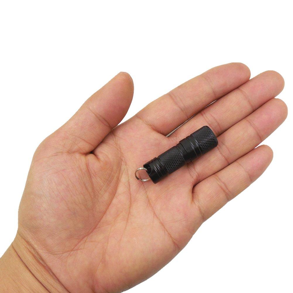 Hete-Supply Mini-LED-Taschenlampe, wiederaufladbar, mit Micro-USB, bis zu 150 Lumen, inkl. wiederaufladbarem Akku und USB-Kabel, Schwarz