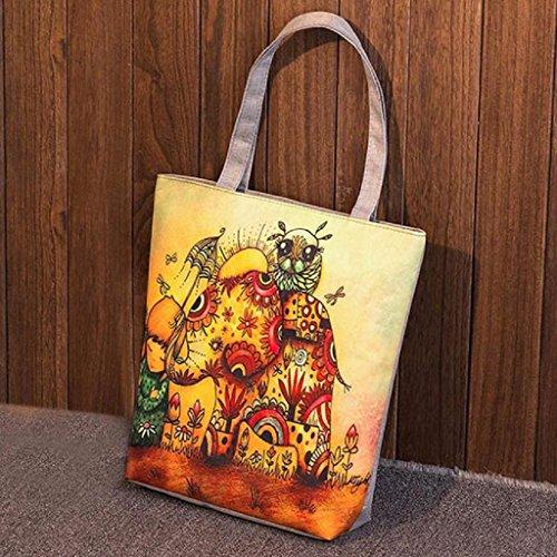 Baratos Movil Elefante Multiusos Mochila De Mujer de Bolsa Bolsa Impresión Para de Hombro Niñas Lona E QUICKLYLY zx1qTYz