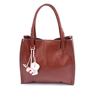 3c061d98438 Best-topshop Leather Handbag with Zipper for Women Girls, Candy Color  Pandent Bag for Shopping Party School Outdoor (Brown)  Zipper   Amazon.co.uk  Office ...