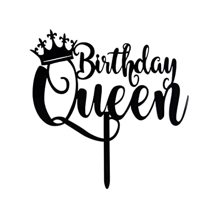 Queen Birthday Cake Topper Black Happy 16th