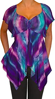 product image for Funfash Plus Size Women Purple Blue V Neck A Line Slimming New Top Shirt Blouse
