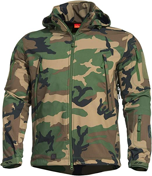 MENS BLACK PENTAGON ARTAXES SOFTSHELL TACTICAL JACKET WATER RESISTANT ALL SIZES