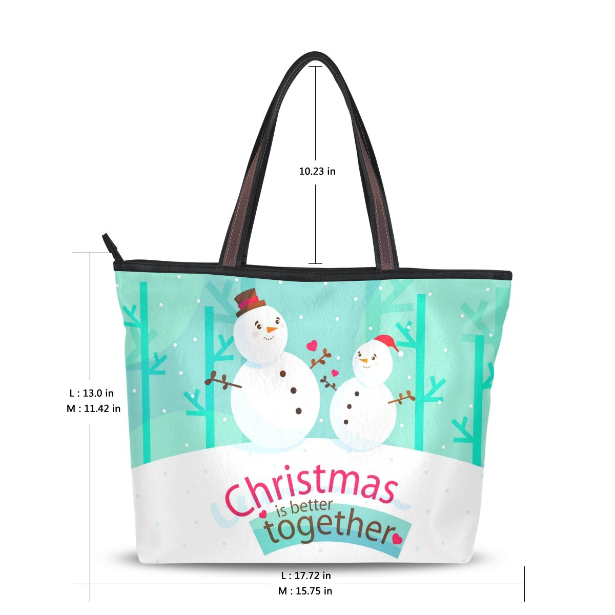 ae7654d87b4 Women s Designer Handbags Fashion Big Canvas Washable Tote Bags Shoulder Bag  Top-handle Bag with Christmas Better Together Snowman Pattern for Shopping  ...