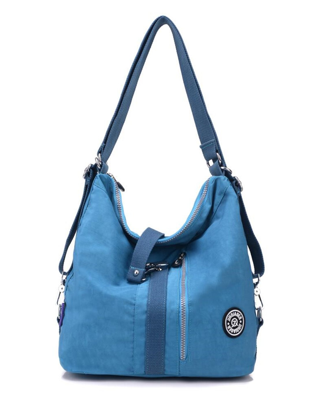 Women's Multipurpose Water-resistant Nylon Shoulder Bag Top Handle Handbag Fashion Travel Backpack Purse for Women (Blue)