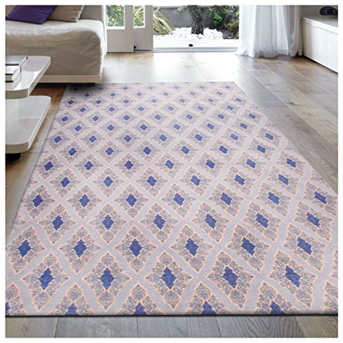 Superior Birmingham Cotton Blend Chenille Area Rug, Hand Woven Rug with Cotton Canvas Backing, Beautiful Contemporary Pattern - 8' x 10' Rug, Blue (Canvas Contemporary Rug)