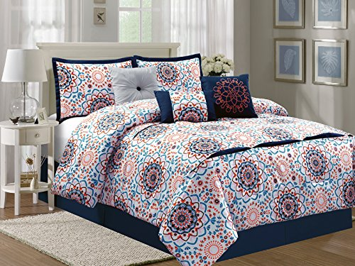 HGS 7-Pc Geometric Floral Pleated Embroidery Comforter Set Blue Orange Pink Brown Off-White Queen - Morocco Comforter Set