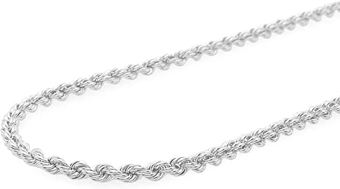 3mm 080 Gage Curb Sterling Silver Italian Chain Necklace